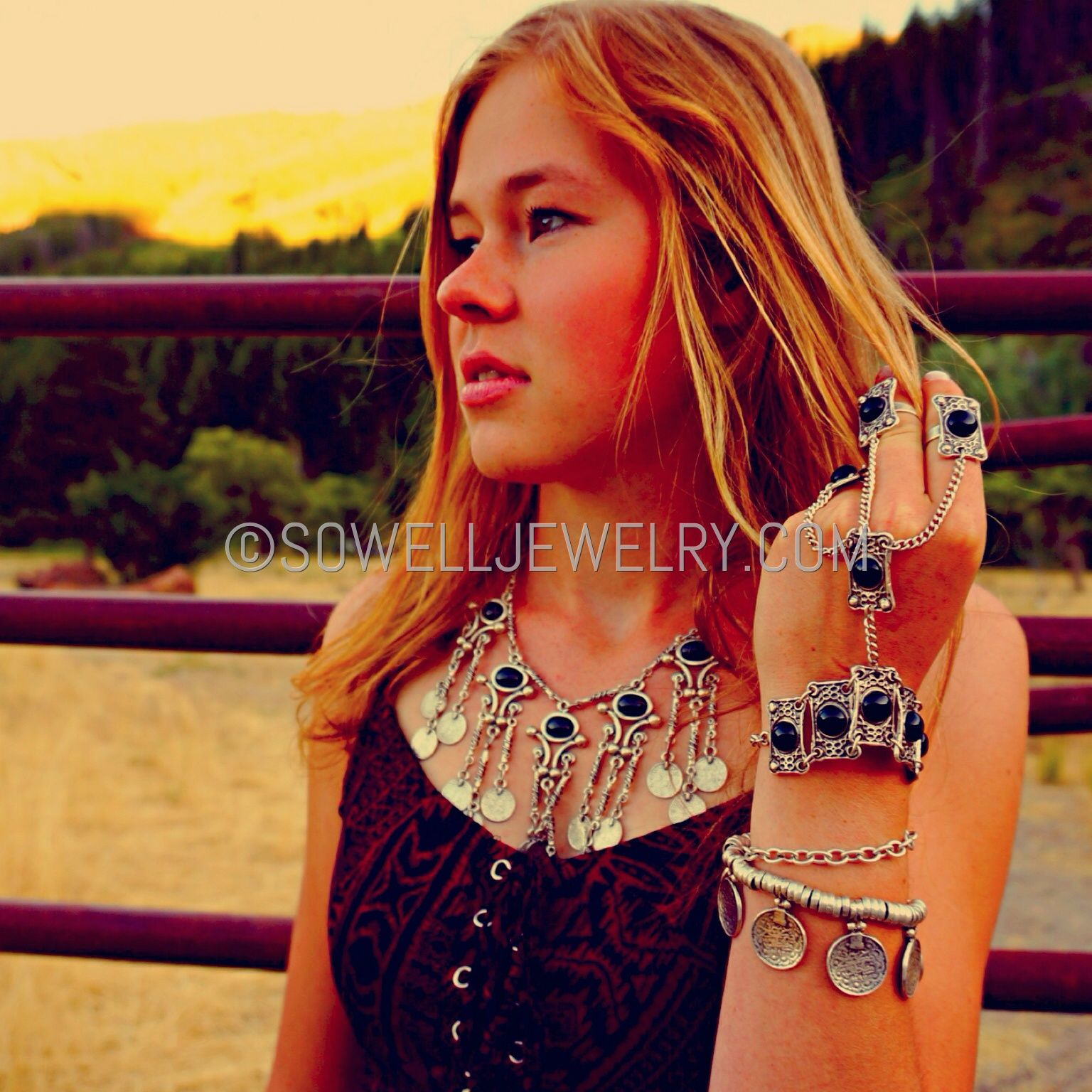 Arsinoe Silver bohemian necklace Black/Turquoise