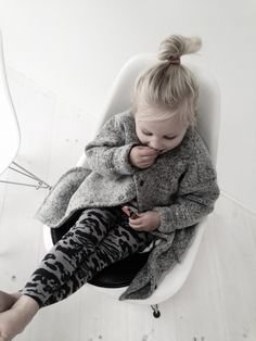winter fall style fashion little small blonde girl bun grey coat anorak jack jacket leopard print black legging leggings pants
