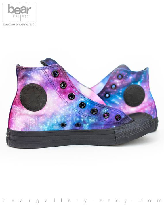 49bba8d2483 Custom Painted Galaxy Converse High Tops - Hand Painted Galaxy Shoes ...