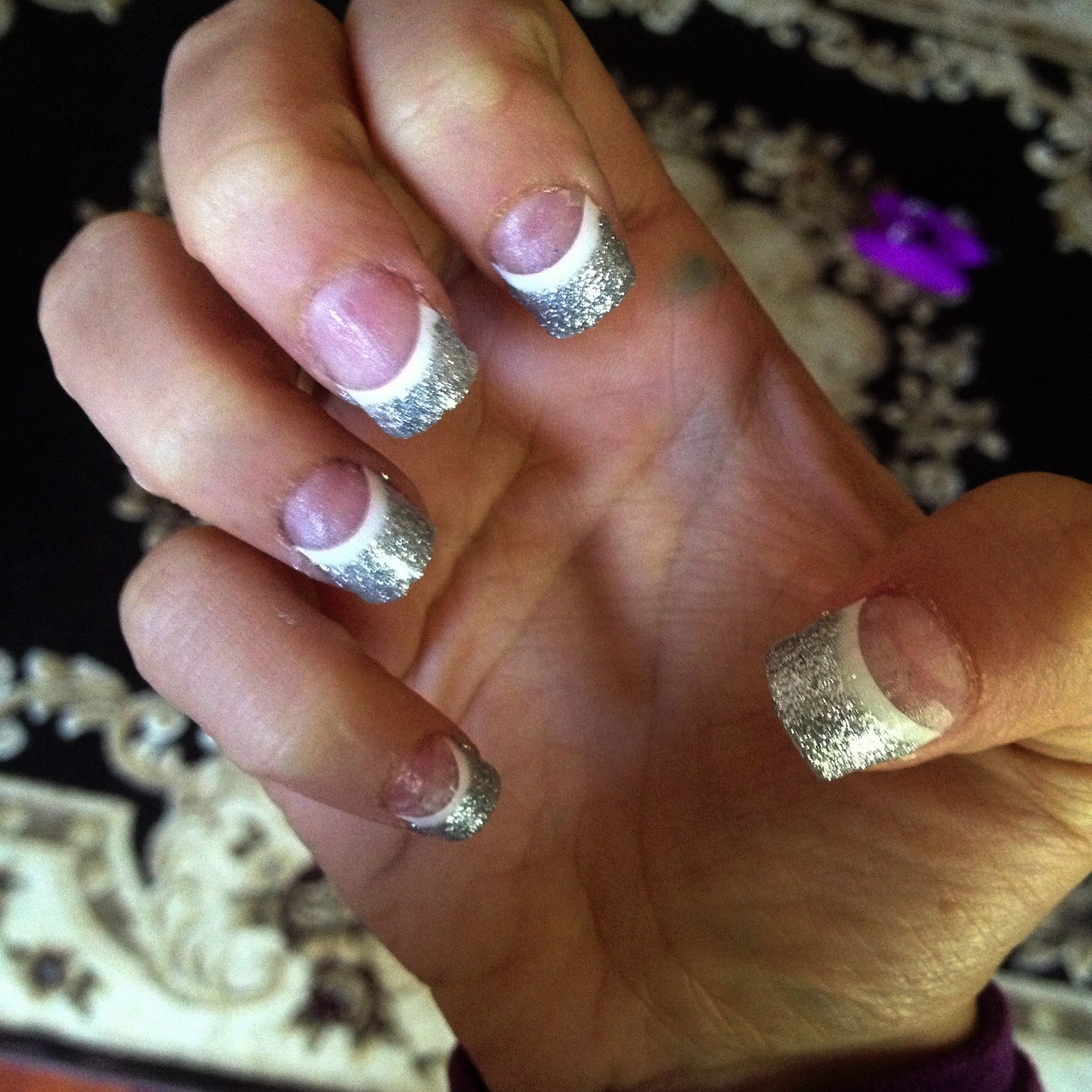 acrylic glitter french tips