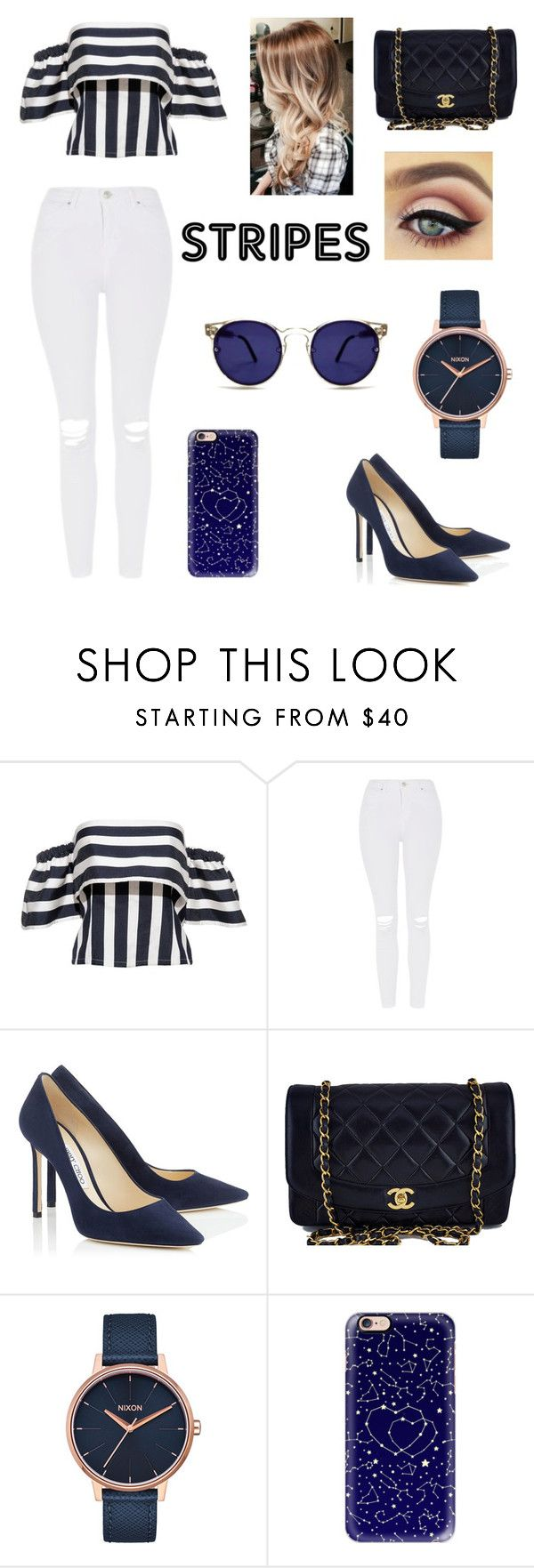 """Untitled #21"" by franck-alexandra-bonnet ❤ liked on Polyvore featuring Topshop, Chanel, Nixon, Casetify and Spitfire"