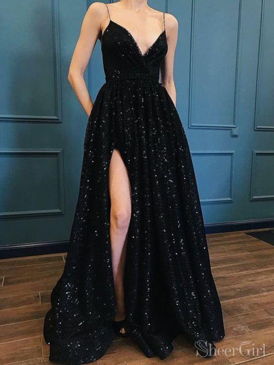 bd12db43d62 Black shiny sequin long prom dress with slit. 1.Silhouette A-line 2.Fabric  Sequin Lace 3.Embellishment Pocket Slit 4.Neckline V Neck  5.Sleeve Sleeveless 6.