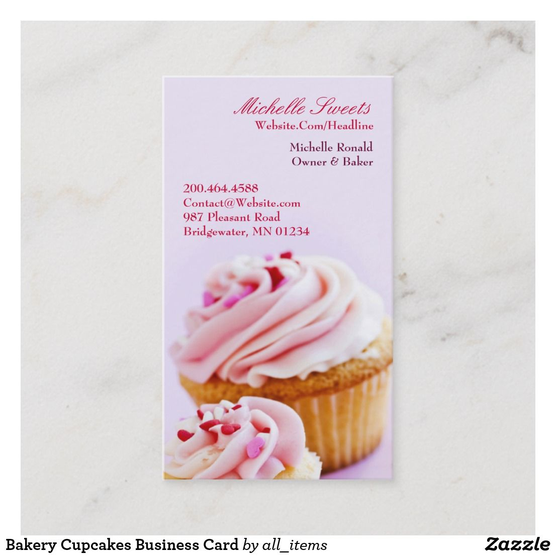Bakery Cupcakes Business Card Zazzle Com Bakery Business Cards