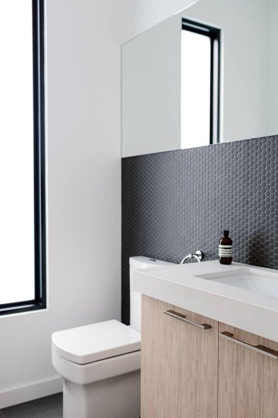 Matte Black Penny Tiles On The Bathroom Walls Penny Tiles Bathroom Bathroom Design Bathroom Backsplash
