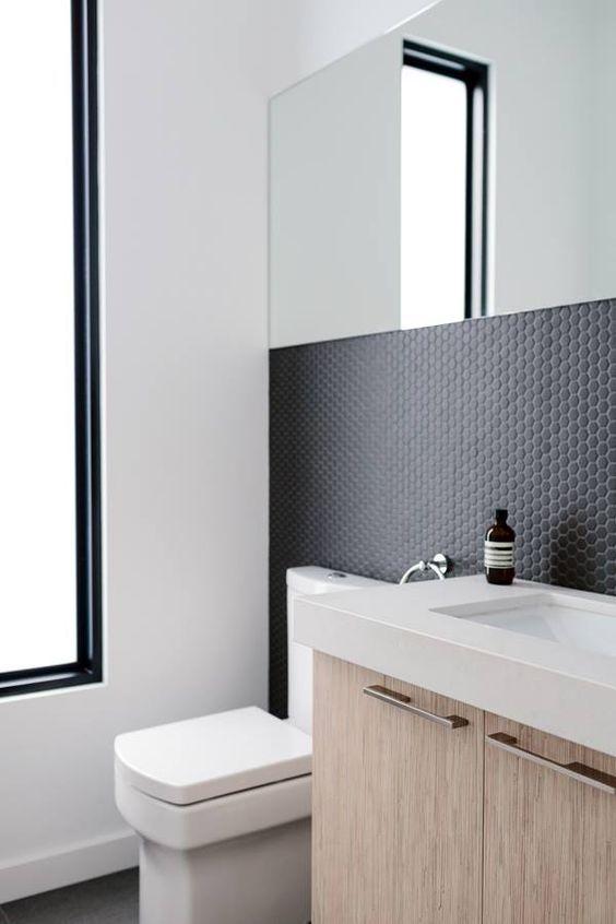 Matte Black Penny Tiles On The Bathroom Walls Penny Tiles Bathroom Bathroom Backsplash Bathroom Design