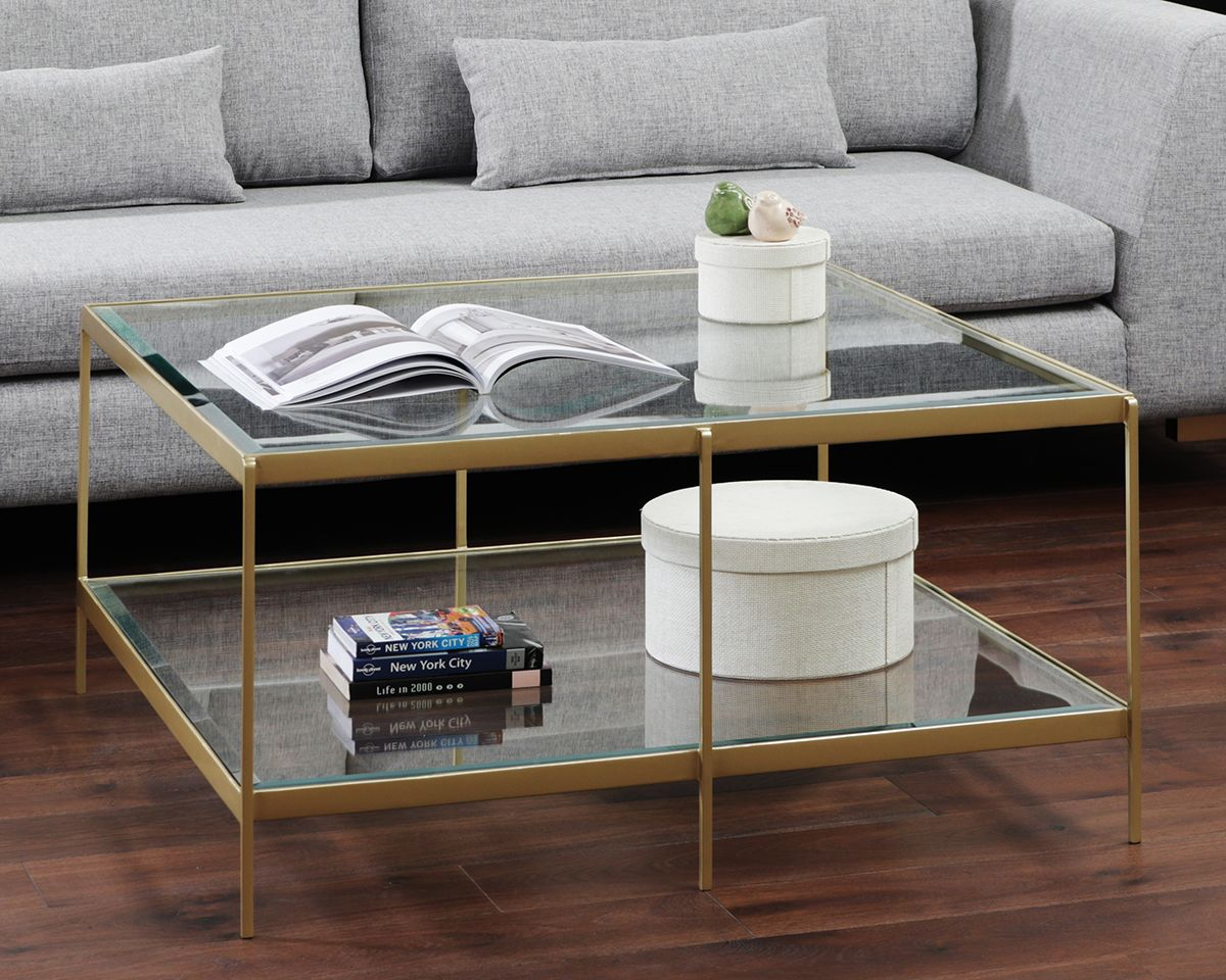 The Glass Topped Abigail Coffee Table With A Mirrored Shelf Makes The Perfect Coffee Table For Your Living Space Coated With Light Beautiful Brass Makes Abigai [ 960 x 1200 Pixel ]