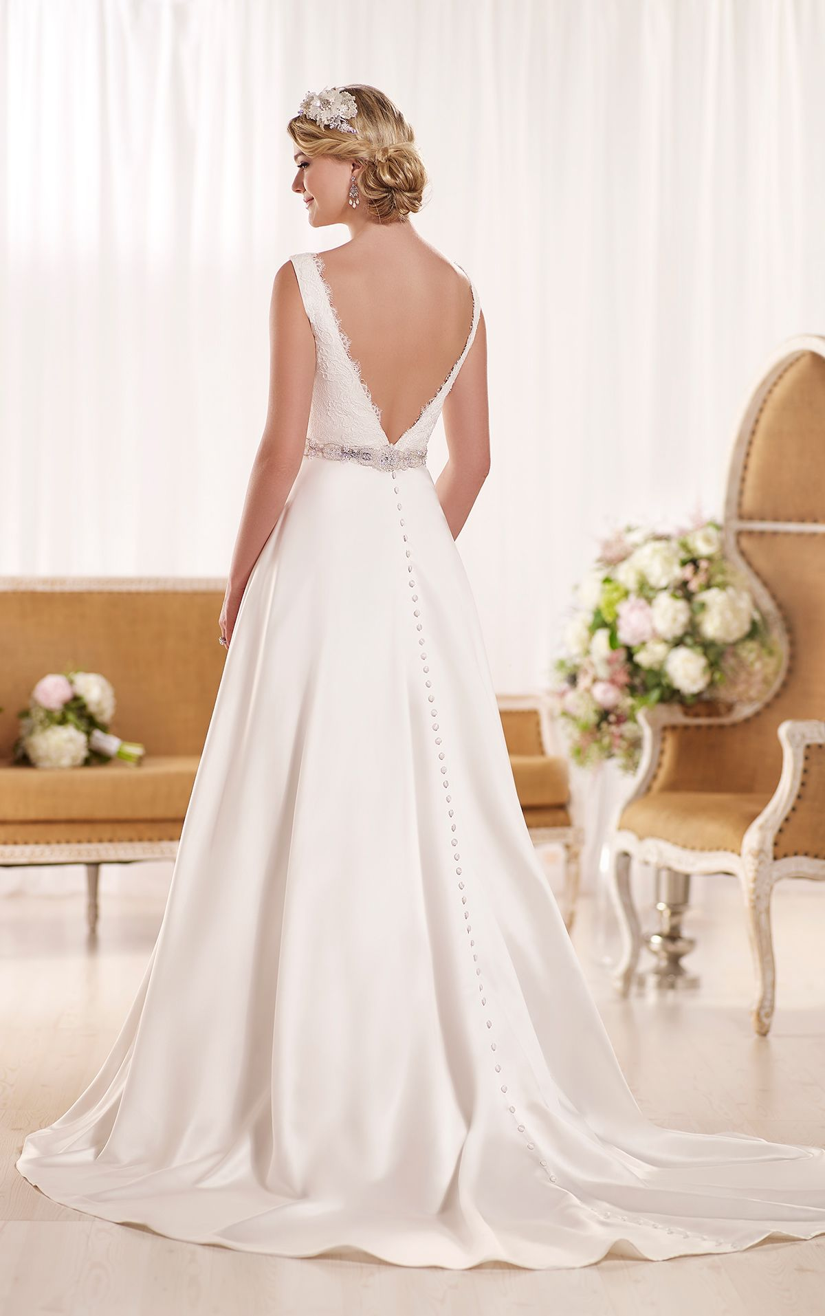 This Luxe Satin and lace Aline designer bridal gown from