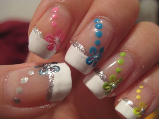 Fun French Manicure Nail Design With Flowers And Dots On Only One