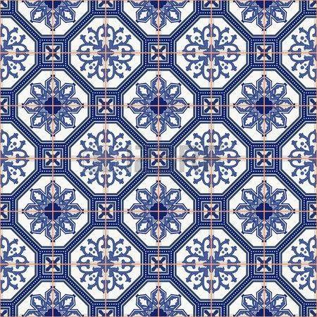 Sin patrn magnfico coloridos azulejos marroques portugueses blancos Azulejo adornos Puede ser utilizado para el papel pintado patrones
