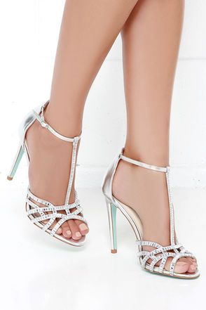 5fba8e7c314 Pretty Silver Heels - Rhinestone Heels - Dress Sandals -  109.00. Shoespie  White T Strap Peep Toe Hollow Stiletto Heel ...