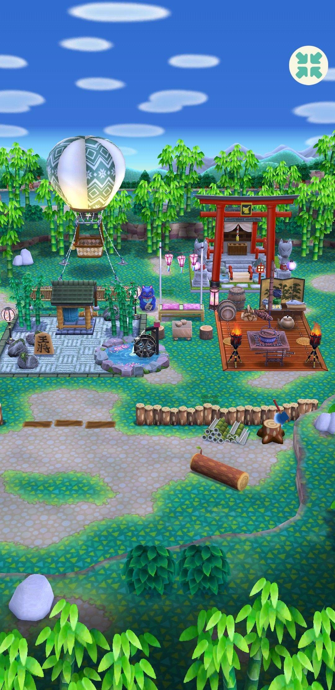 Japanese Garden And Garden House Animal Crossing Pocket Camp Campsite Animal Crossing Pocket Camp Animal Crossing Garden Animals Backyard lawn diy acnh