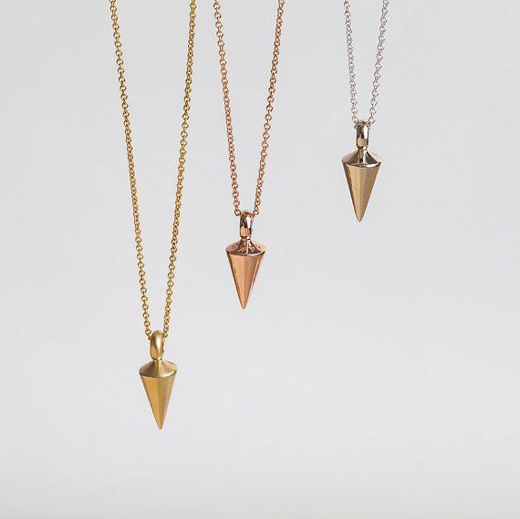 14k White Gold Plumb Pendant Necklace For Men Vertical Pendulum Spike Necklace Cone Pendant Necklace Gold Chains For Men Chains For Men Thin Gold Chain