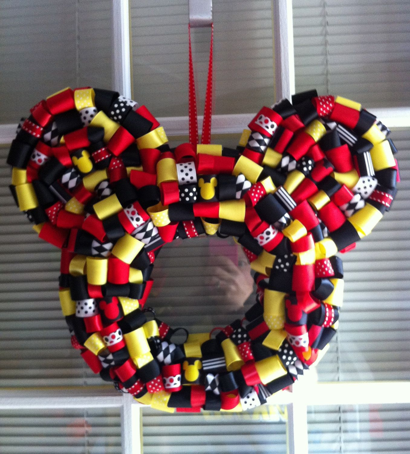 Photo of Items similar to Mickey Mouse Ribbon Wreath 14″ on Etsy