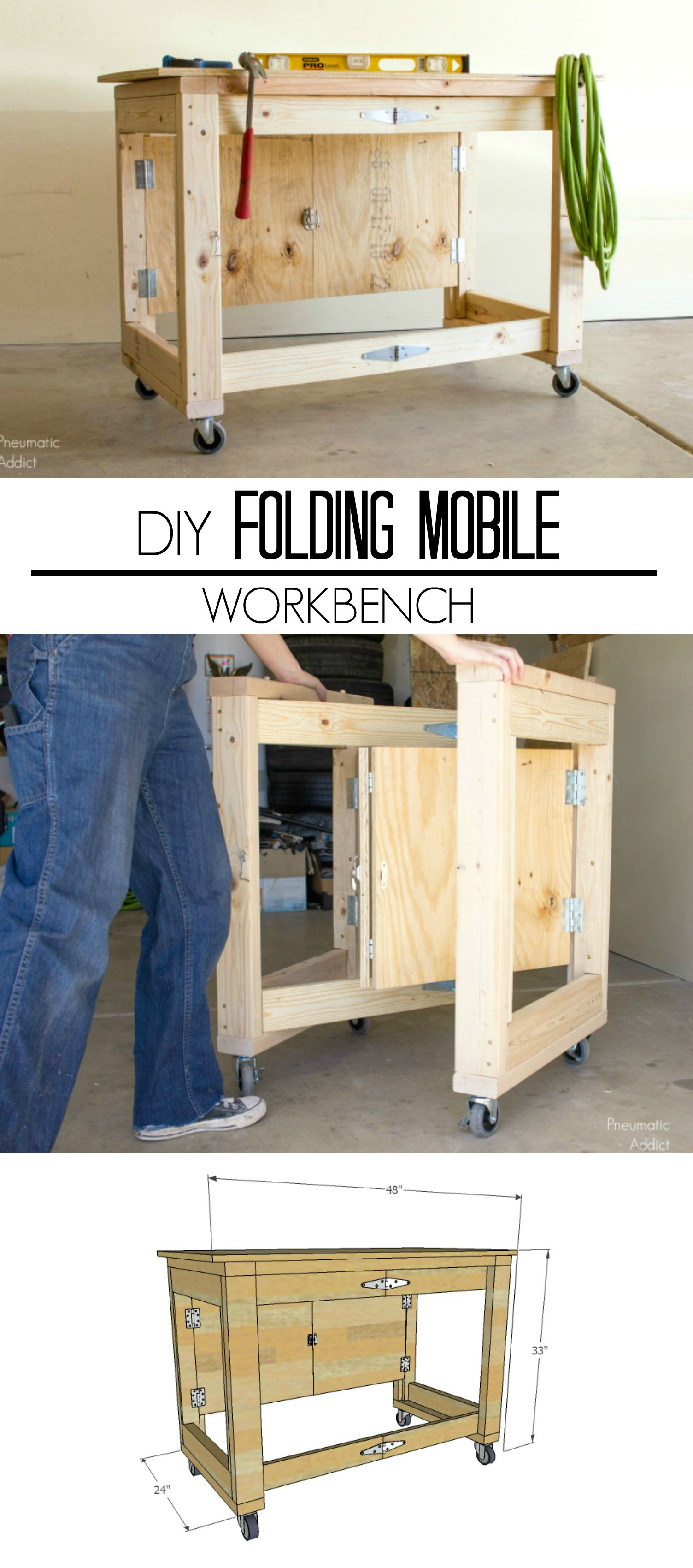 Learn How To Make An Easy Inexpensive Folding Mobile Workbench