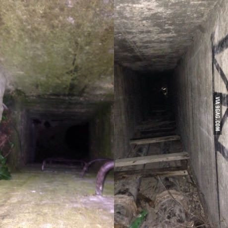 I was walking through the woods and noticed a concrete block with a hole and a ladder, should I go further 9gag?