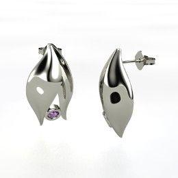 Eternal Flame Earrings, Round Amethyst Sterling Silver Earrings from Gemvara