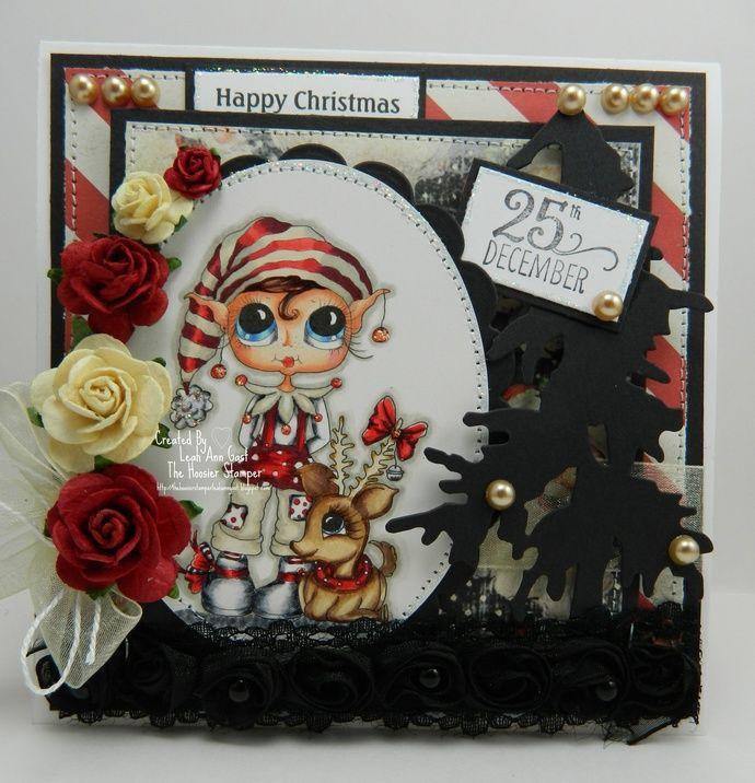 Happy Christmas Handmade OOAK Card by thehoosierstamper, $14.95 USD