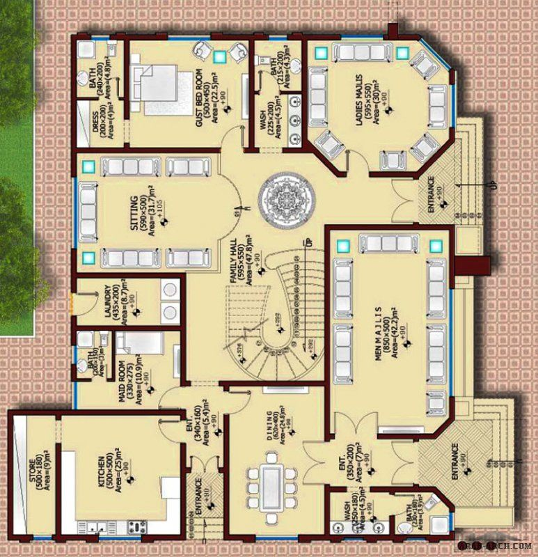 مخطط فيلا 650 م2 6 غرف نوم 1 طابقين روف Square House Plans Container House Plans My House Plans