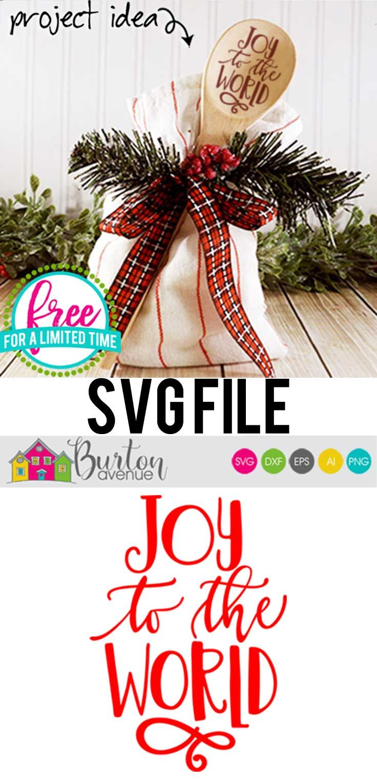 Free SVG Cut File Joy to the World w/Flourish Burton