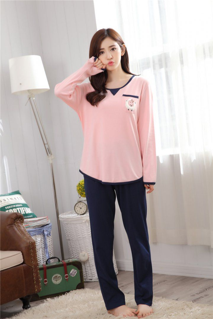 436c71788573f CW47407 Casual knitted Korean style pajamas a set for women ...