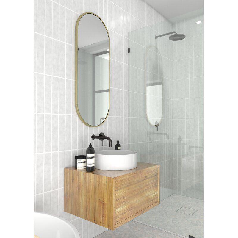 Pill Shape Modern Contemporary Vanity Mirror In 2020 Contemporary Bathroom Mirrors Contemporary Bathroom Vanity Modern Contemporary Bathrooms