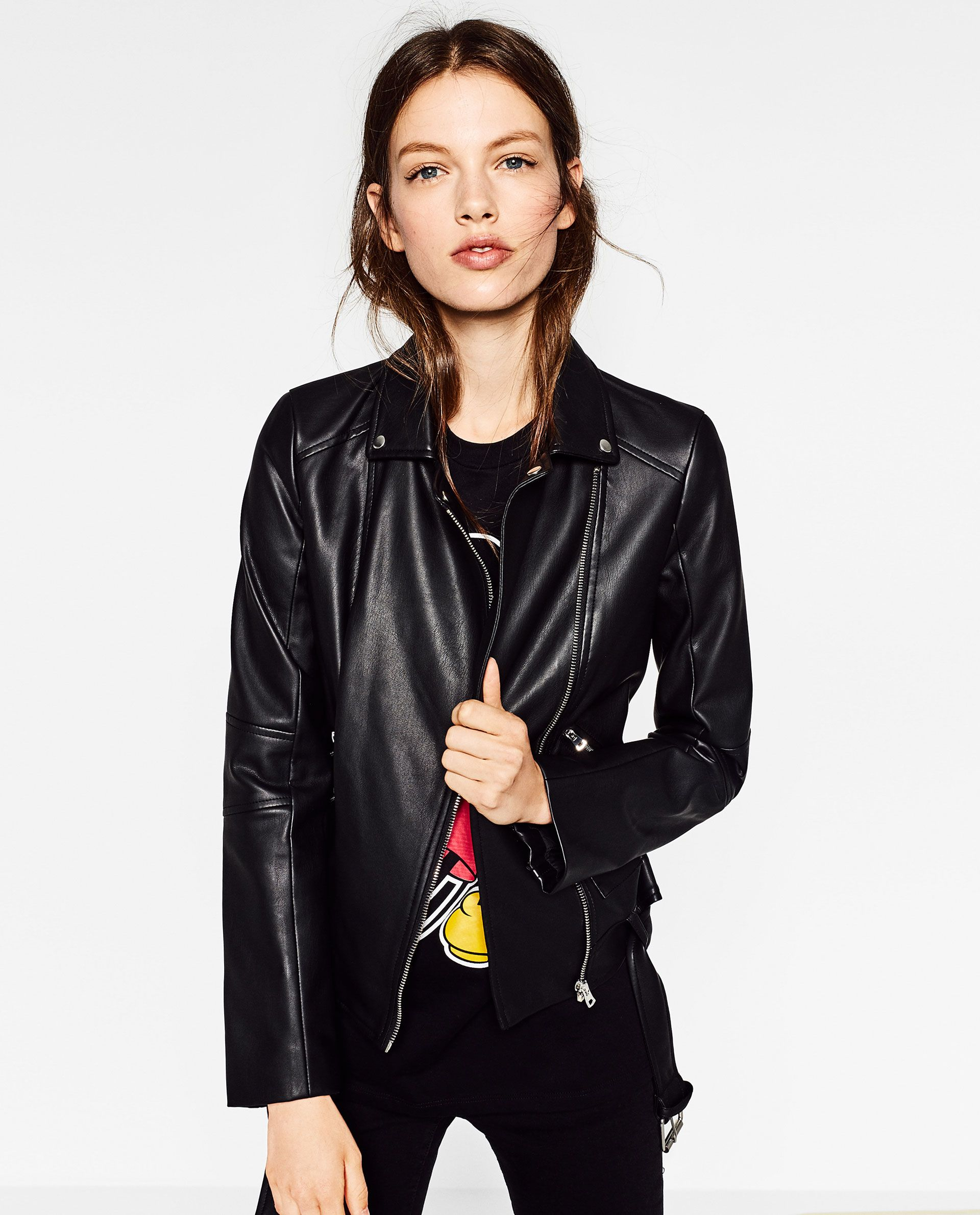 LEATHER EFFECT JACKET Zara leather jacket, Jackets