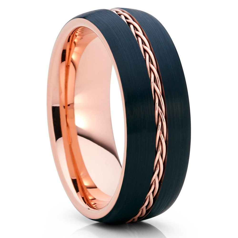 8mm Rose Gold Tungsten Men S Tungsten Ring Rose Gold Braid Brushed Black Black Tungsten Rings Black Wedding Band Tungsten Wedding Bands