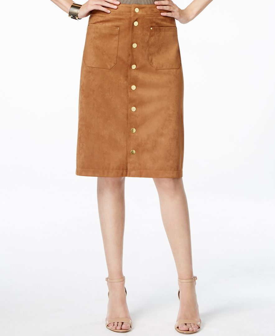 07f83304b Inc International Concepts Faux-Suede Button-Down Skirt, Only at Macy's