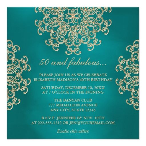 Teal and gold indian inspired birthday card 60th birthday - sample invitation wording for 60th birthday