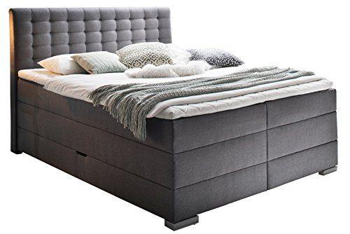 sette notti boxspringbett mit bettkasten 180x200 cm stoff grau boxspringbett mit 7 zonen. Black Bedroom Furniture Sets. Home Design Ideas