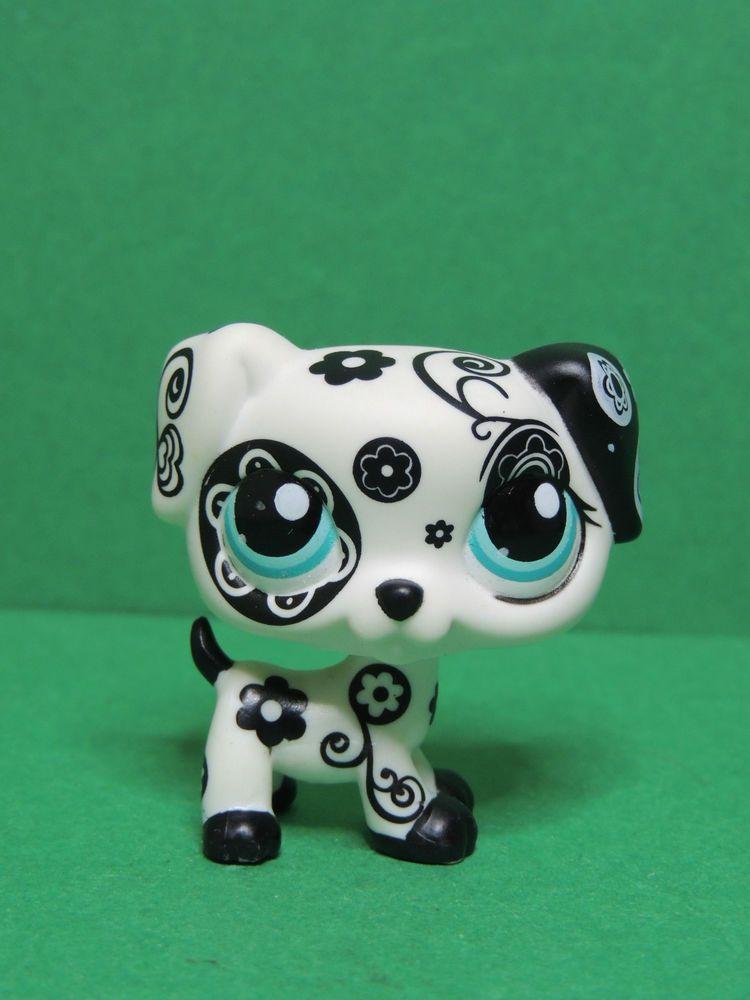 1619 chien dog puppy black white flower dalmatian lps - Chien pet shop ...