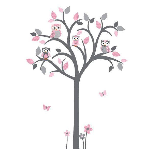 Owl tree decal Owl tree wall sticker Owl by StickItDecalDesigns