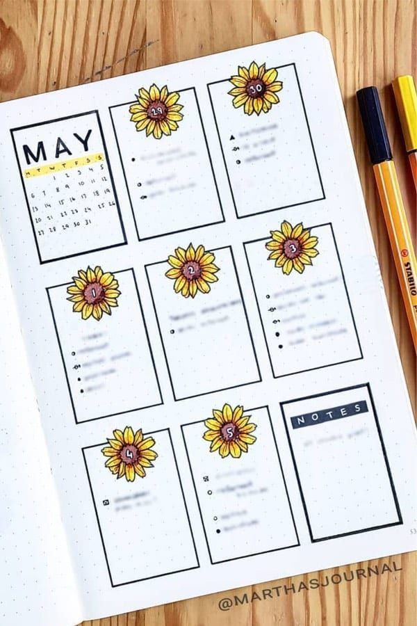 Best Sunflower Bullet Journal Spreads For 2020 - Crazy Laura