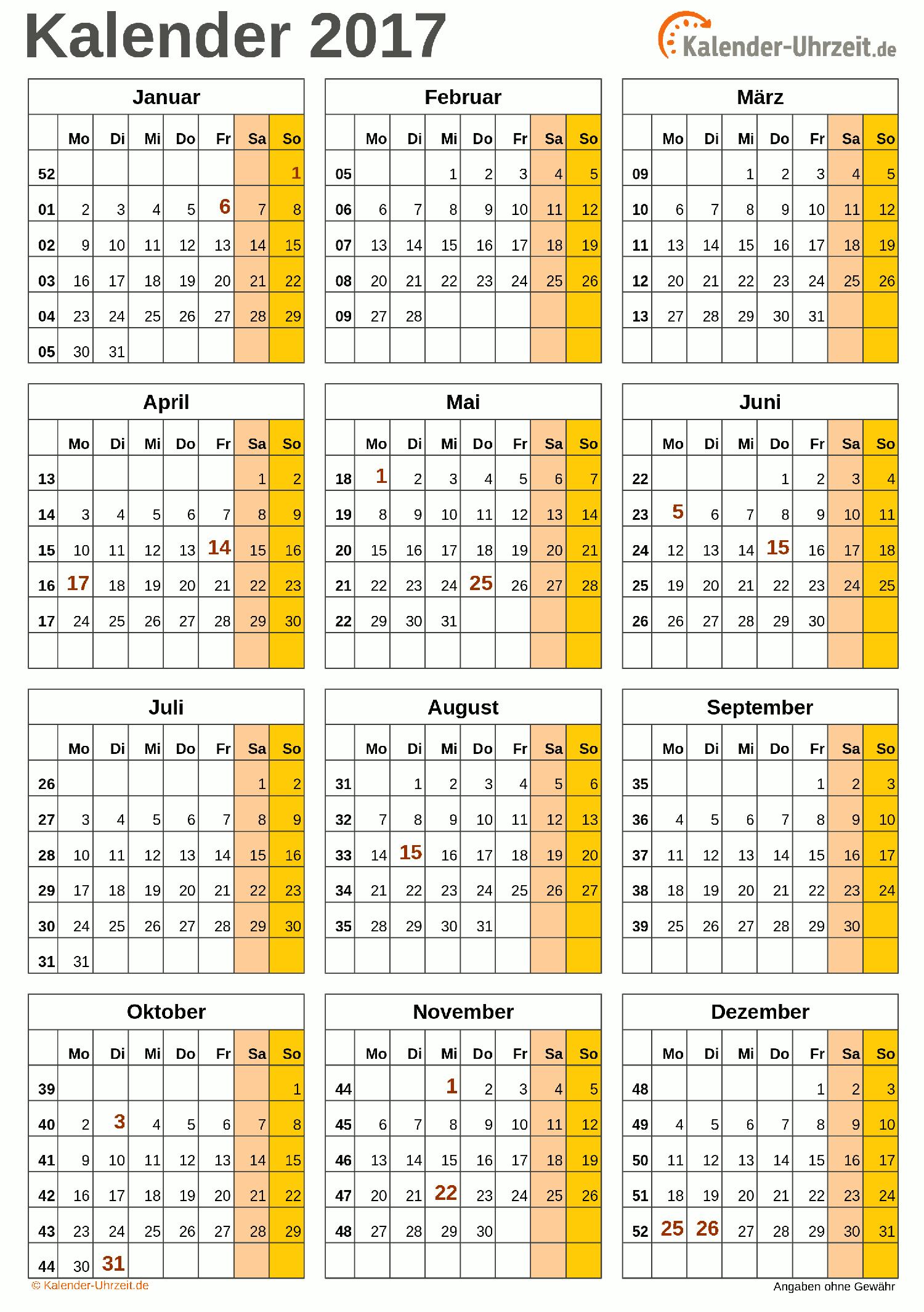Kalender 2017 A4-Hochformat - Vorlage 3. #KalUhr Weitere Kalender ...