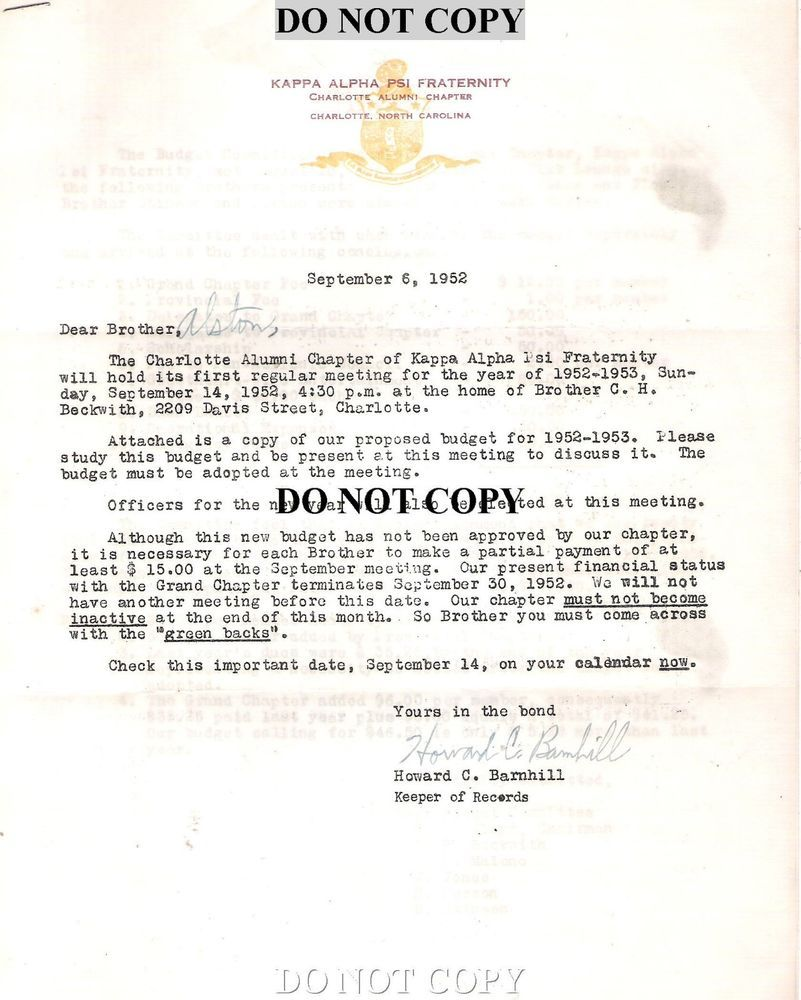 1952 KAPPA ALPHA PSI FRATERNITY CORRESPONDENCE LETTER   BLACK