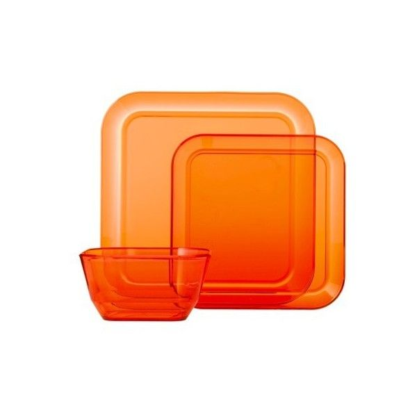 Room Essentials Square 12 Piece Clear Plastic Dinnerware Set - Orange... ($23  sc 1 st  Pinterest & Room Essentials Square 12 Piece Clear Plastic Dinnerware Set ...