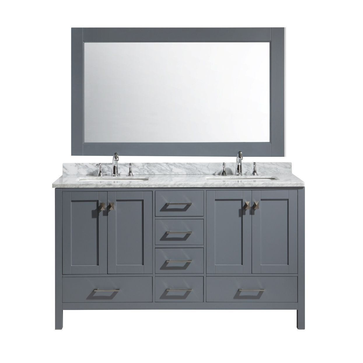 double sink vanity width. The London 61 Inch Solid Oak Wood Cabinet In Grey Finish Has A White  Carrara Double Sink