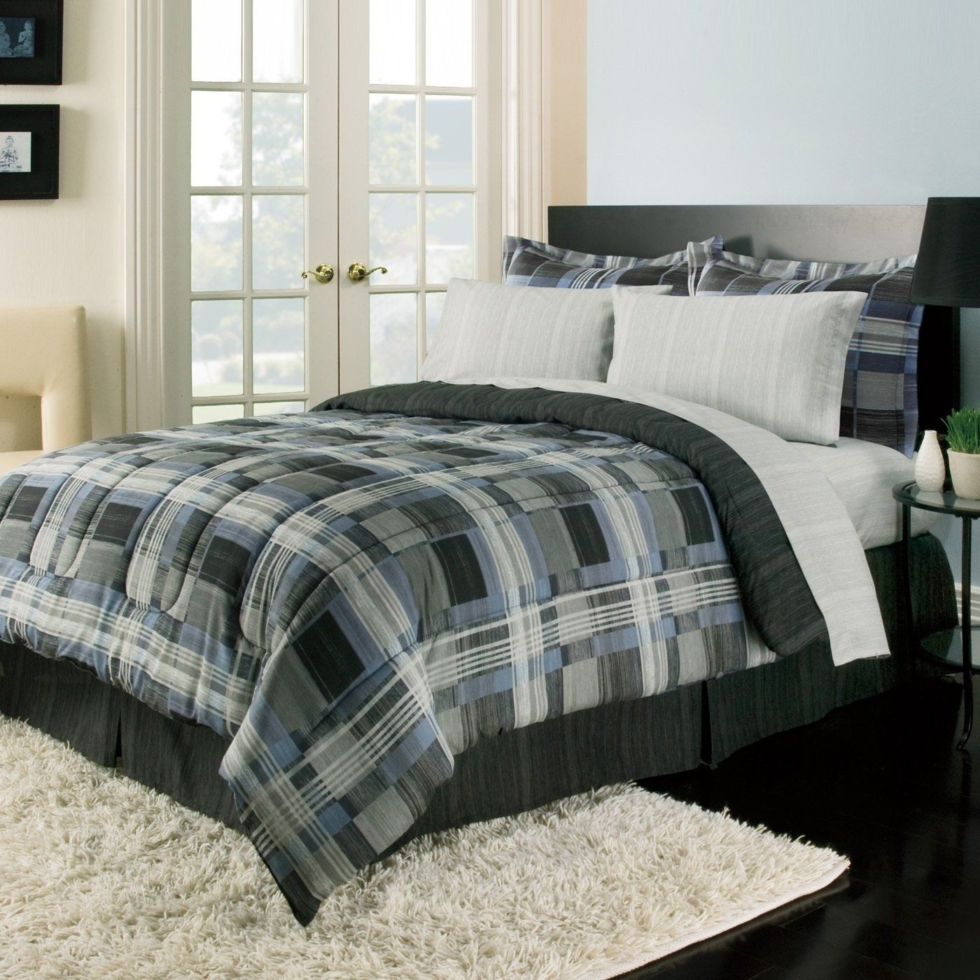 bedding plaid eddie comforter rugged free overstock sets set bauer bath piece product alternative shipping down today