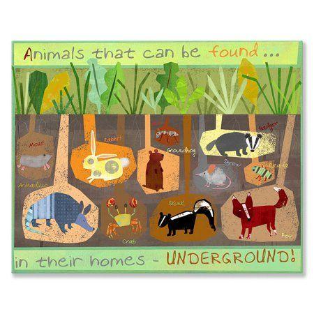 Oopsy Daisy Canvas Wall Art Burrowing Animals 30x24 By Amy Schimler Safford Size 30 X 24 In 2020 Animal Canvas Art Preschool Crafts Preschool Activities