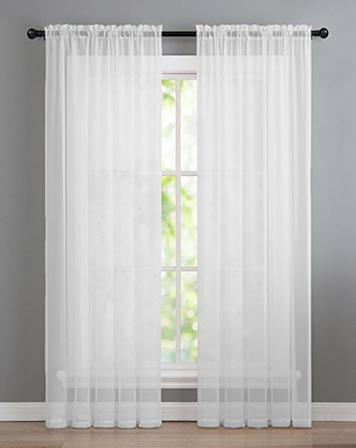 Assorted Colors /& Sizes GoodGram 2 Pack White, 84 in. Long Pair Basic Rod Pocket Sheer Voile Window Curtain Panels