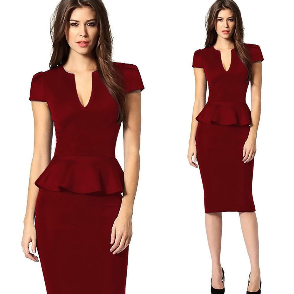 Elegant Office Pencil Dress Women Work Wear Short Sleeve Bodycon Patchwork  Dress  1d2e2a0b618d