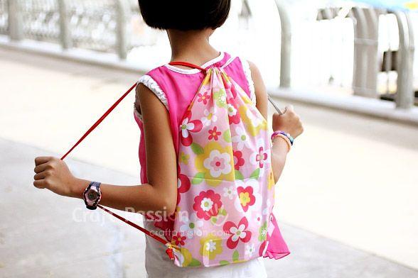 Drawstring Backpack Free Sewing Pattern Activity Bags Kid