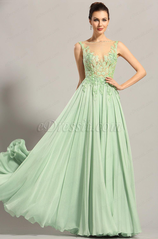 Green dress prom  eDressit Sleeveless Embroidery Bodice Evening Dress Formal Gown