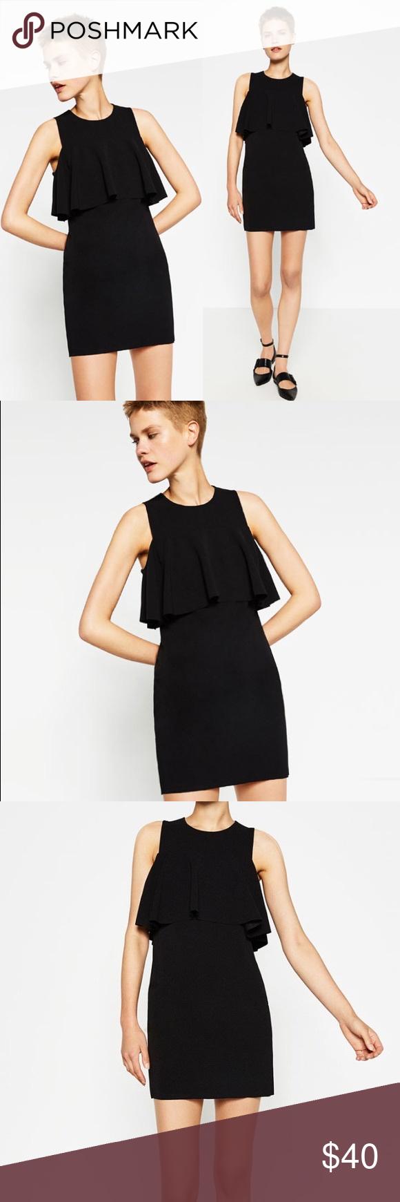 Zara Sleeveless Black Dress With Top Frill Black Sleeveless Dress Sleeveless Mini Dress Dresses [ 1740 x 580 Pixel ]