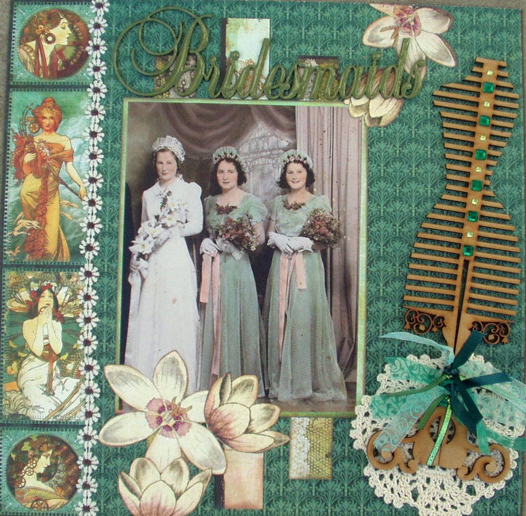 Bridesmaids Wedding scrapbooking layouts, Scrapbook