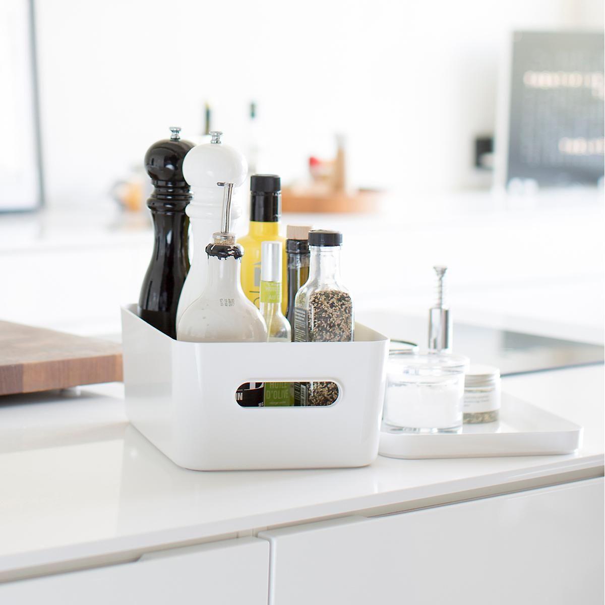 Compact plastic modular bins u lids compact small tray and