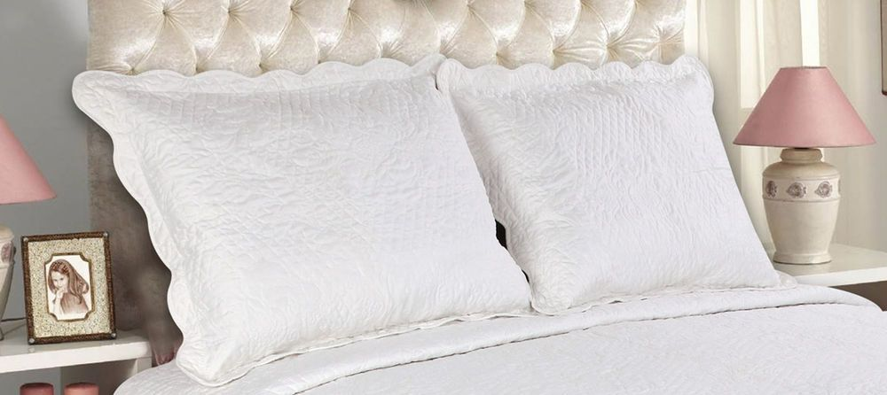 All For You 2 Pc Quilted Pillow Shams King Size Embroidery 8 Colors Available Best Bed Pillows Bed Pillow Sham Bed Pillows