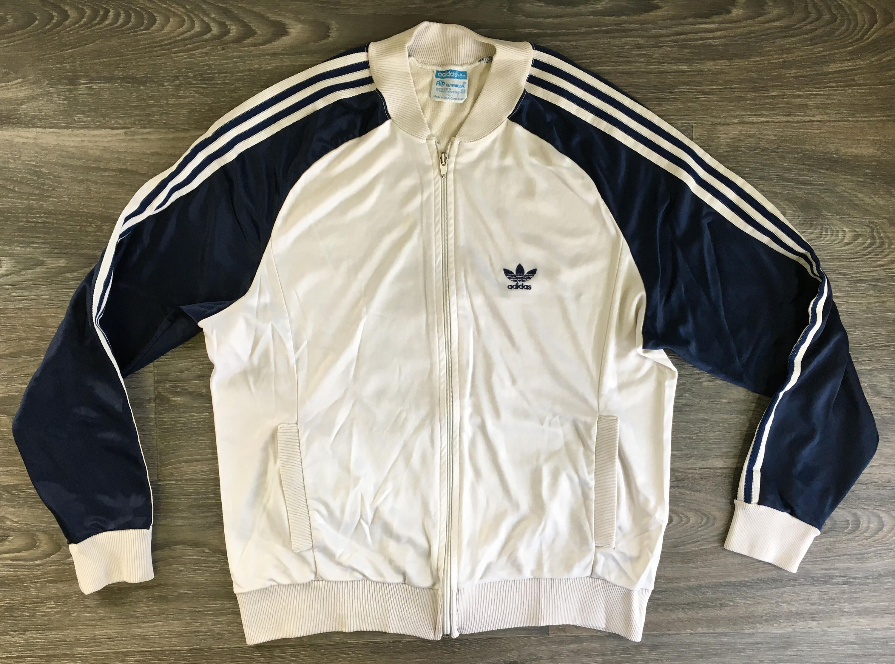562ddbf61d72e ADIDAS WARM UP Jacket 70s Vintage Full Zip Coat Keyrolan Hip Hop 3 ...