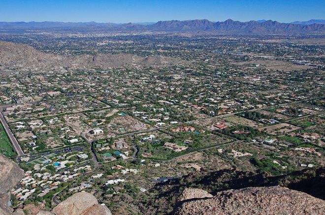 A view of Scottsdale Arizona from the summit of Camelback Mountain