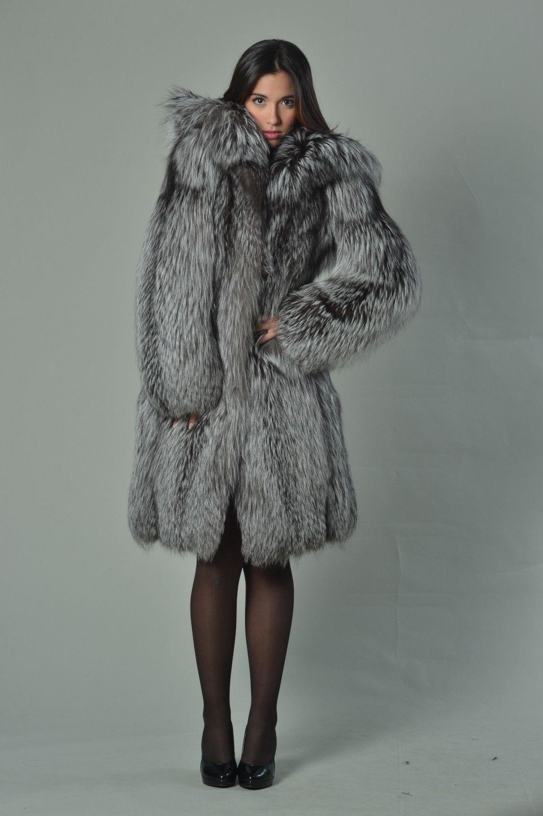 Silver Fox Fur Coat Women's Hooded Knee Length eBay